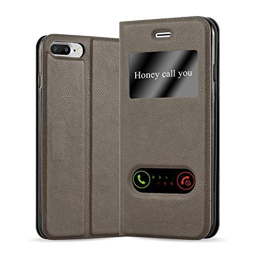 Apple iPhone 8 PLUS / 7 PLUS / 7S PLUS Hülle in BRAUN von Cadorabo - Handy-Hülle im View Design mit Sicht-Fenster Case Cover Schutz-hülle Etui Tasche Book Klapp Style STEIN-BRAUN