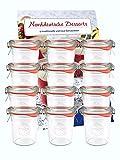 12er Set Weck Gläser 160 ml inkl 12 Frischhaltedeckel Einkochringe Klammern Glasdeckel Einmachgläser Sturzgläser Weckgläser Dessergläser