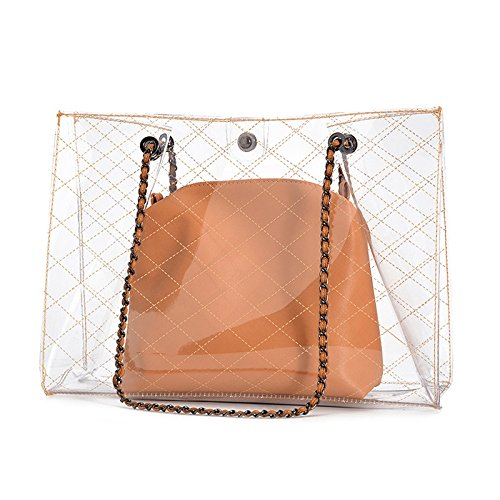 GSHGA Art und Weise beiläufiges transparentes PVC-Gelee-Beutel-Schulterbeutel-Strand-Beutel-Handtaschen Totes Baguettes Top-Handle Bags - Armband-handle-handtasche