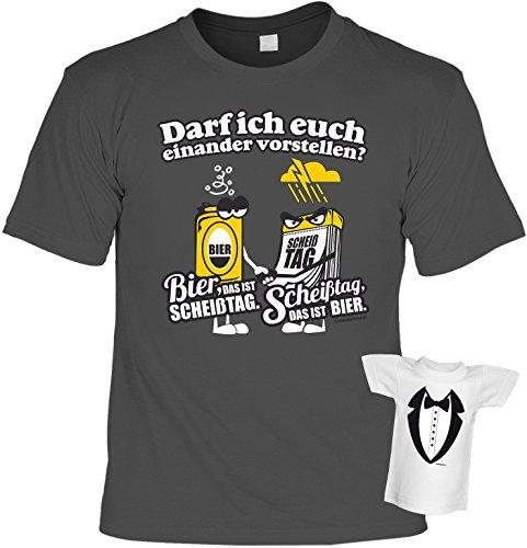 Fun T-Shirt Bier oder Scheißtag Shirt bedruckt Geschenk Set mit Mini Flaschenshirt Anthrazit