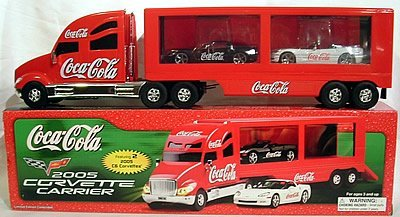 Coke Coca Cola 2005 Corvette Carrier Truck with Corvette C6 Hardtop and C6 Convertible by Unknown