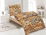 4tlg Microfaser Bettwäsche Tiger in Braun Sand Creme Beige 2x 135x200cm