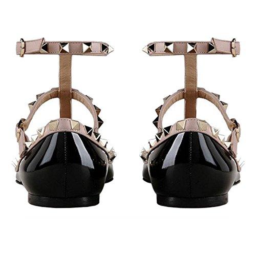 EKS Damen Niets Spitze Ankle Strap Stilett Ballerinas Flache Schuhe Flache Schuhe EU 35-46 Schwarz-Lackleder