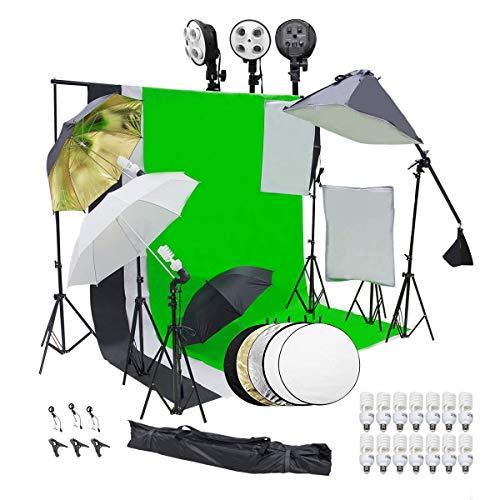 Wisamic Profi Fotostudio Set Hintergrund Stützsystem Softbox Studiosets Hintergrund Fotoleinwand- 3 Softbox Set 10ftx6.5ft Hintergrundstoff 14 PCS Studioleuchte