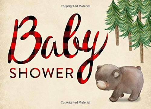 Baby Shower: Guest book, Ideal for a Lumberjack theme baby shower! Space for a picture, Write predictions & advise, with gift log. Bear