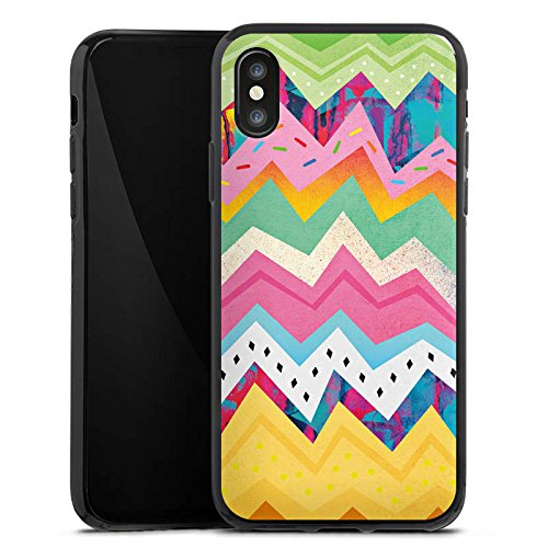 Apple iPhone X Silikon Hülle Case Schutzhülle Muster Zickzack Eis Silikon Case schwarz