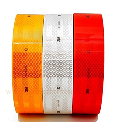 3M High Intensity Reflective Tape 2 inch x 2 Ft White, Red and Yellow + Pack of 3 strips