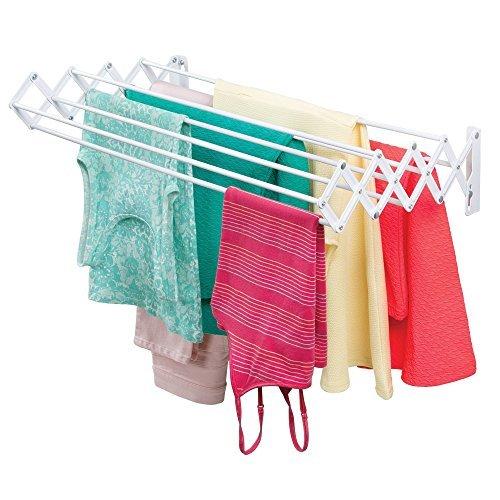 Mdesign stendipanni in metallo – stendino estensibile per la lavanderia – stendibiancheria da muro a fisarmonica poco ingombrante – bianco