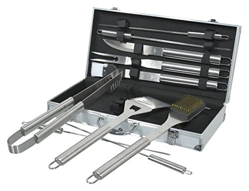 Premium Grillbesteck Set im Alukoffer (11 Teile) mit Grillzange, Reinigungsbürste, Marinierpinsel uvm. aus hochwertigem Edelstahl