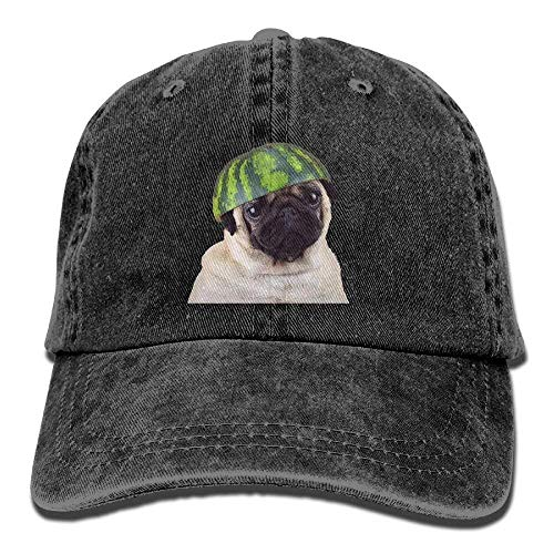 Cute Watermelon Pug Vintage Washed Dyed Cotton Twill Low Profile Adjustable Baseball Cap Black Black caps Black Brushed Twill Cap