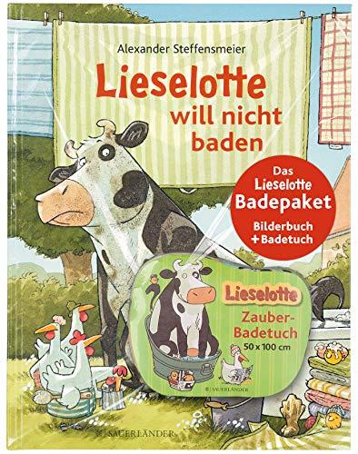 """Das Lieselotte Badepaket: Das Bilderbuch \""""Lieselotte will nicht baden\"""" und das \""""Lieselotte Zauberbadetuch\"""""""