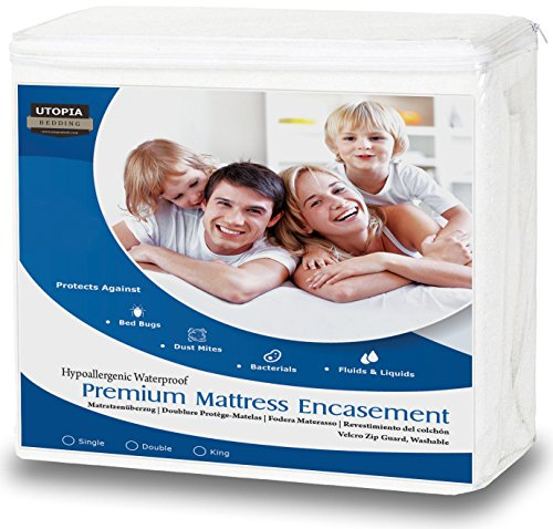 Utopia Bedding Funda de colchón Impermeable con Cremallera - Altura del colchón 25-35 cm - Protección...