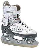 Nijdam Paire de patins de hockey sur glace réglables pour enfants 33-36 Noir - Schwarz-Weiß-Silber