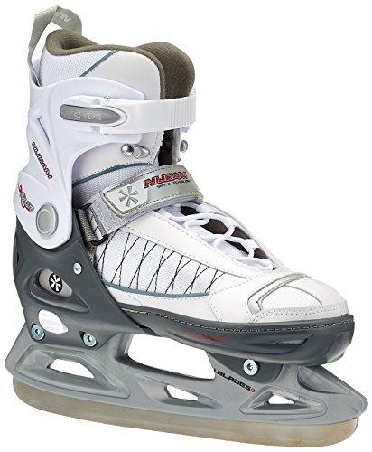 Nijdam Kinder Eishockeyschlittschuhe verstellbar Icehockey Skates, Weiß-Silber-Schwarz, 37-40, 1014006