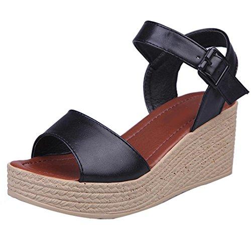 Winwintom Moda Mujer Verano pendiente con Chanclas Sandalias mocasines zapatos (38, Negro)