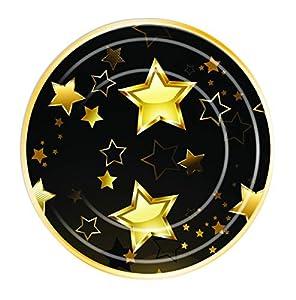 "Forum Novelties- Birthday Milestone Plates 9"" (8 in pkt), Color black, gold (X81901)"