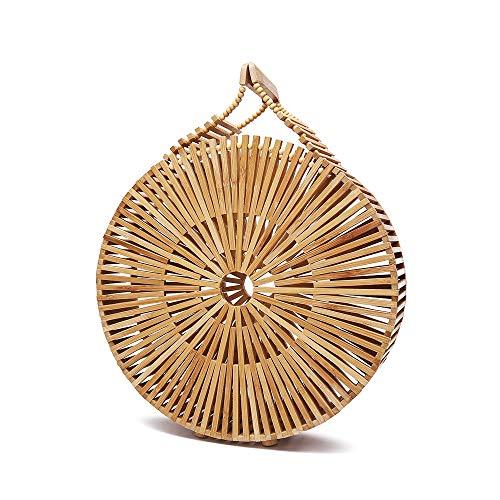 DLDL Bambus Handtasche Handgemachte Top Griff für Sommer Meer Natürliche Bambus Geldbörse Large Tote 11,0