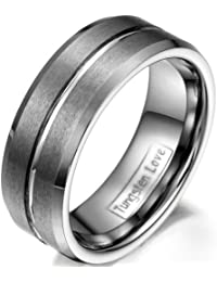 JewelryWe Anillo de la joyería de la mujer del hombre 8mm cepillado de tungsteno ranurado banda de la boda del…
