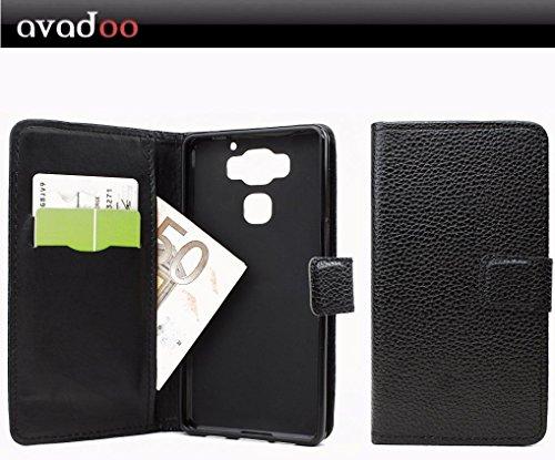 avadoo® Archos Diamond 2 Plus Flip Case Cover Tasche Schwarz mit Magnetverschluss & Dualnaht als Cover Tasche Hülle