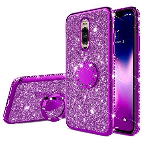Jinghuash Kompatibel mit Huawei Mate 9 Pro Glitzer Handyhülle Luxus Kristall Bling Glänzend Strass Diamant Hülle mit 360 Grad Ring Ständer Ultradünn Stoßfest TPU Silikon Tasche Schutzhülle-Lila