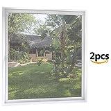 Fliegengitter Fenster 2-er Set 120 * 120cm | 150 * 180 Zuschneidbar ohne Bohren Klebmontage | Anthrazit Durchsichtig | Insektenschutz Fliegenvorhang Moskitonetz Weiß