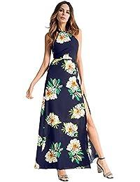 antaina Gasa Azul Marino Estampado Floral Sin Espalda Alta Raja Larga Maxi Mujeres Vestido de Playa
