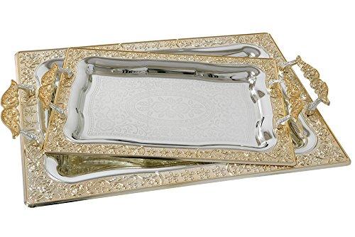 Almina 2 Teiliges Serviertablett | Edelstahl | Gold | Silber