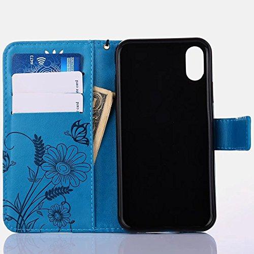 Embossing Blumen Horizontale Flip Stand Case Geldbörse Geldbörse mit Lanyard & Soft TPU Cover & Card Slots für iPhone X ( Color : Gray ) Blue