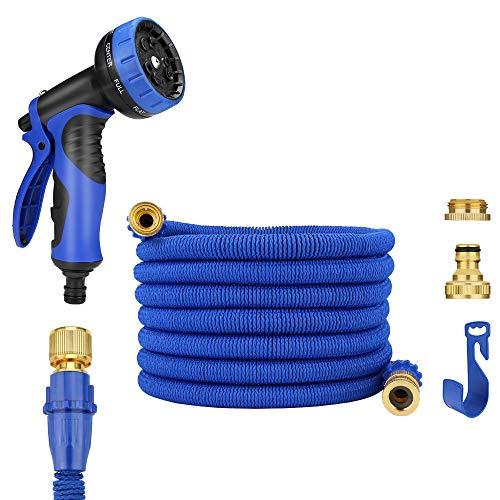 """JamieWIN 25FT/7,5M Erweiterung Wasserschlauch Rohr 1/2"""" 3/4"""" Stecker mit 9 Funktion Schlauch Spritzpistole Flexible Gartenschlauch Rohre Anti-Leckage und einfache Lagerung durch Kleiderbügel / Haken (blau)"""