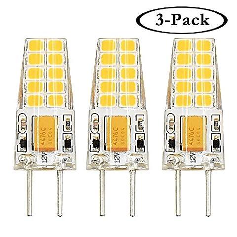 Klarlight 3W Bi-pin Base G6.35/GY6.35 Base JC Type AC/DC 12V 3000K Warm White JCD LED Halogen Incandescent 30W Replacement Bulb(3-Pack)