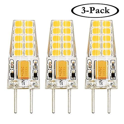 Halogen-bi-pin-lampe (Klarlight 3W Bi-Pin Sockel G6.35 / GY6.35 Sockel JC Typ AC/ DC 12V 3000K Warmweiß 2-Stifte Ersatz für JCD LED Halogen Glühbirne (3-Pack))
