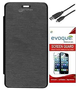 Evoque Flip Cover For Micromax Canvas 2 A120 + Screen Guard + Micro USB Data ...