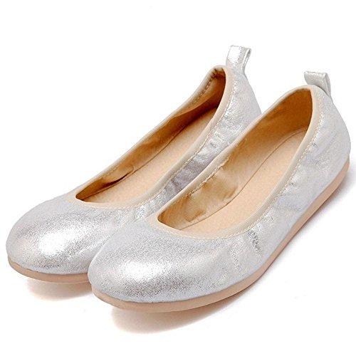 TAOFFEN Donna Primavera Estate Scarpe Basse Silver-22