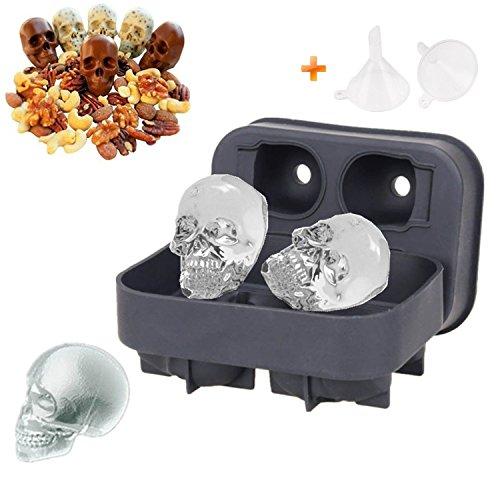 Cube Form Tabletts 3D GIANT Skull Flexible Lebensmittelqualität Candy Jelly Kuchen Backen Formen 1 Stück (Halloween-schokoladen-tray Backen)