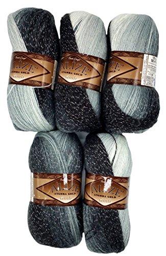 5 x 100 g Alize Glitzerwolle Farbverlauf schwarz grau weiß Nr. 1900 zum Stricken und Häkeln, 500 Gramm Metallic - Wolle mit Mohair