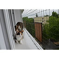 Bird-Tech Filet Balcon Noir pour Les Chats et Les Oiseaux, 5x5 M + 50 FastNet + 1 Tube Silicone 80ml ...