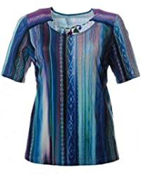 3b6715268d5442 Chalou Damen Kurzarm-Shirt mit Quasten-Kette in Türkis Sommer-Mode Große  Größen