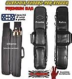 Buffalo Custodia Stecca Biliardo Premium Black Fodero Porta Stecca Imbottito in Pelle Sintetica capacita 4 calci e 8 Punte con Guanto Omaggio.