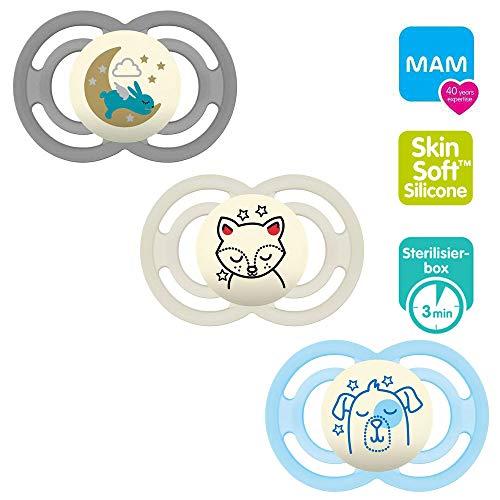 MAM Babyartikel Perfect Night Schnuller, leuchtend, 6 Mo+ Neutral // 3er Set // inkl. 3 Sterilisiertrasportboxen