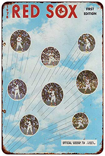 Yilooom 1978 Boston Red Sox Scorebook Baseball Reproduction Metal Sign 8 X 12
