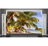Fondo De Pantalla En 3D Roma Pillars Beach Seascape 3D Telón De Fondo De Televisión, 380X260Cm (149.61X102.36 In)