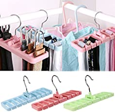 Connectwide®Multi - Functional Belt Storage Rack,Hook Organizer Holder,Storage Hanger for Wardrobe,Belt,Tie,Scarf (1) (Green)