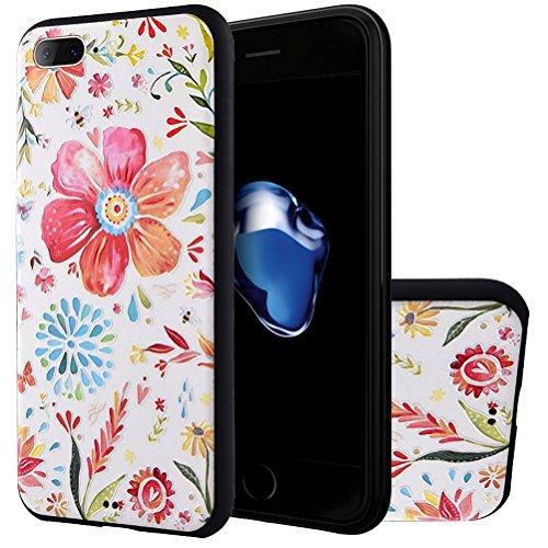 "MOONCASE iPhone 7 Plus Hülle, [Blau Blume] Kreativ Bunt Muster Design Gel TPU Schutzhülle für iPhone 7 Plus 5.5"" Handyhülle Silikon kratzfeste stoßdämpfende Case Spring Blume"