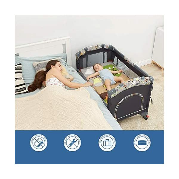 ZXCVB Crib Travel Multifunctional Crib Travel Cots with Mattress Ice Silk Mat Diaper Table Game Bed Portable Folding Suitable for Children Up to 36 Months ZXCVB 【MATERIAL】High quality PP plastic,alloy steel pipe,environmentally friendly TD cloth,breathable mesh, soft and comfortable, free of paint formaldehyde, wear-resistant, dirt-resistant, durable, care for your baby's body and healthy growth 【size】110*65*70cm 【2-IN-1 BABY TRAVEL COT】There are two layers on this baby travel bed, the top layer is suitable for feeding and resting, and the bottom layer is ideal for crawling or learning to walk. You can use our infant cot in various kinds of places according to your different needs. 3