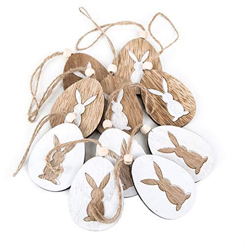 Logbuch-verlag - 10 ciondoli a forma di pasquale, in legno, 7 cm, con cordino per appenderlo, colore: bianco/marrone