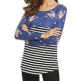 Fangcheng Maternity Shirts Pflege Stillen Top Langarm T-Shirt Mutterschaft Doppelschicht Shirt Bluse Blau L