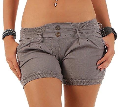 malito Damen Shorts in Unifarben | lässige kurze Hose | Bermuda für den Strand | Pants - Hotpants 6089 (grau, L)