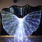 Solike Ailes en Lumineuses LED Femmes LED Lumière Ailes D'Isis Costumes De Danse Spectacles Danse Accessoires Décoratifs Danse De Performance avec Bâtons Télescopiques (Taille Unique, Blanc)...
