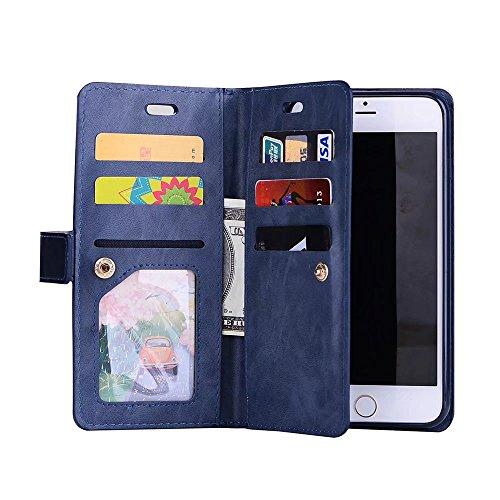haowe iwei per iPhone 7Plus, Lusso Fashion Wallet Stand Case 9in PU Pelle Protettiva Cover con chiusura a zip & Lanyard & Kick Stand haowe iwei blu