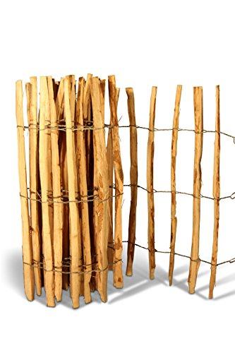 Haselnuss-Zaun Rollenzaun Staketenzaun Lattenzaun H100 x L500 cm, Lattenabstand ca. 7-9 cm